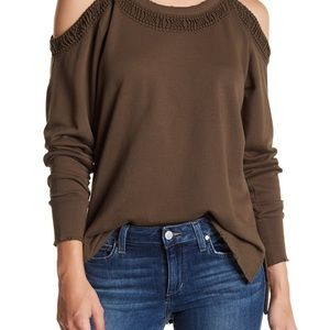 NWT Olive Green Joe's Jeans Cold Shoulder Sweater